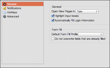 Passwords 4. You can access the different types of preferences by clicking the following options in the left panel: General. Controls how sites open and how the Password Manager fills in fields.
