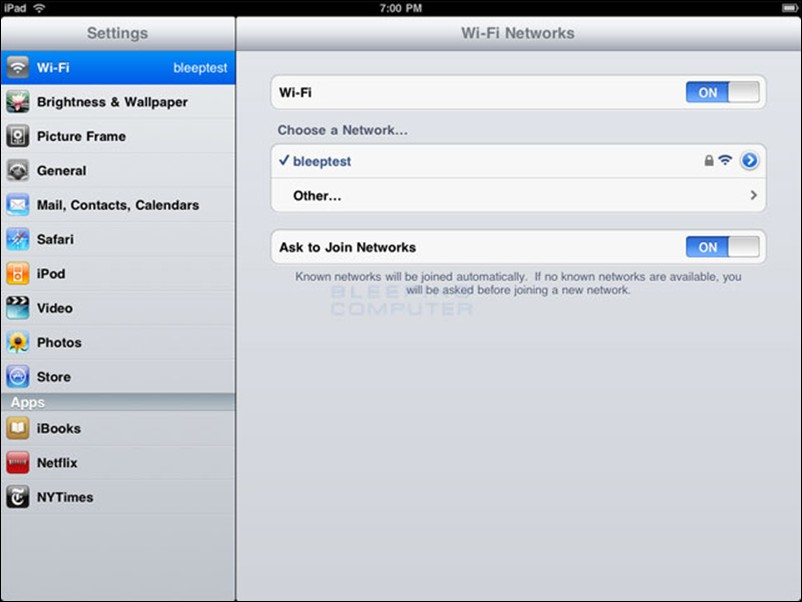 Wireless Set up Help: Apple (continued) Connect to an ipad continued Choose an available wireless network screen When you reach this screen, the ipad will start searching for Wi-Fi networks that are