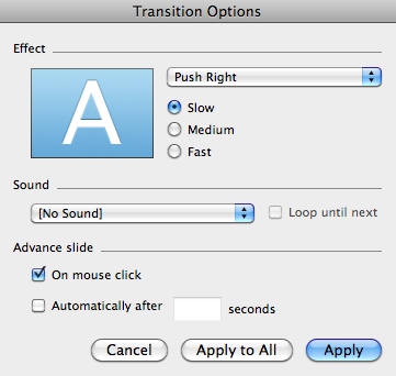 Slide Transitions Transitions perform an effect as you move from one slide to the next. In PowerPoint 2008, transitions can be added by using the Transitions tab in the Elements Gallery. 1.