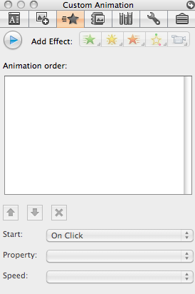 Note: To preview your transition, click on the word View in the Apple menu bar and choose the Custom Animation option. The Custom Animation dialog will open. Click on the Preview icon.