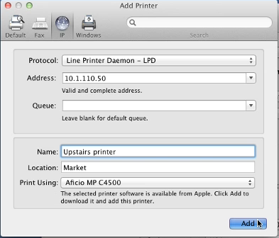 After the IP address is validated as a complete address, the Mac will look on the network to see if the printer can be found.
