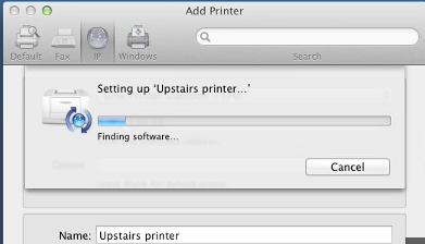 The Mac will setup the printer such as