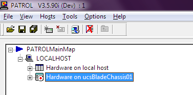 A new icon is created in the PATROL Console, corresponding to the monitoring of the hardware of this Cisco UCS server.