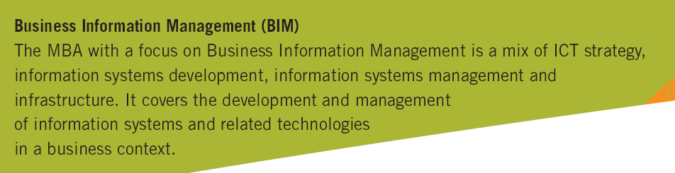 Master of Business Administration Orientation Business Information Management (BIM) Prof. Dr.