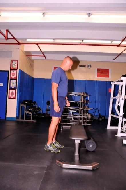 STEP UP TARGET AREA: UPPER LEG Stand at base of bench with both feet on the ground.