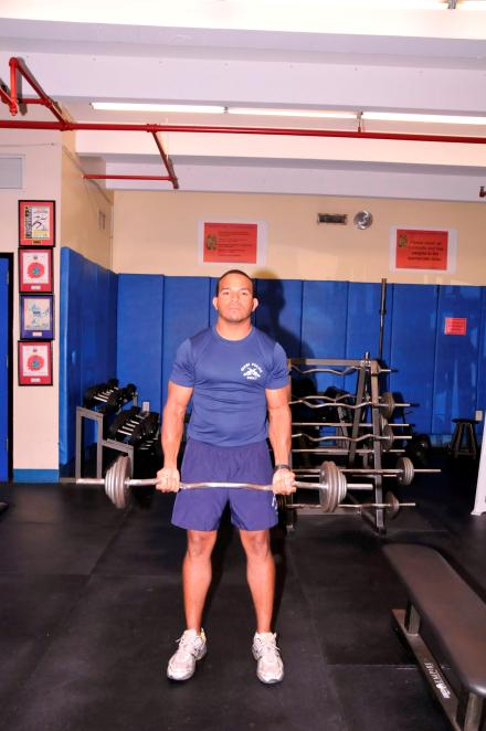 CURL TARGET AREA: BICEPS Grasp barbell 8 inches apart, palms facing away.