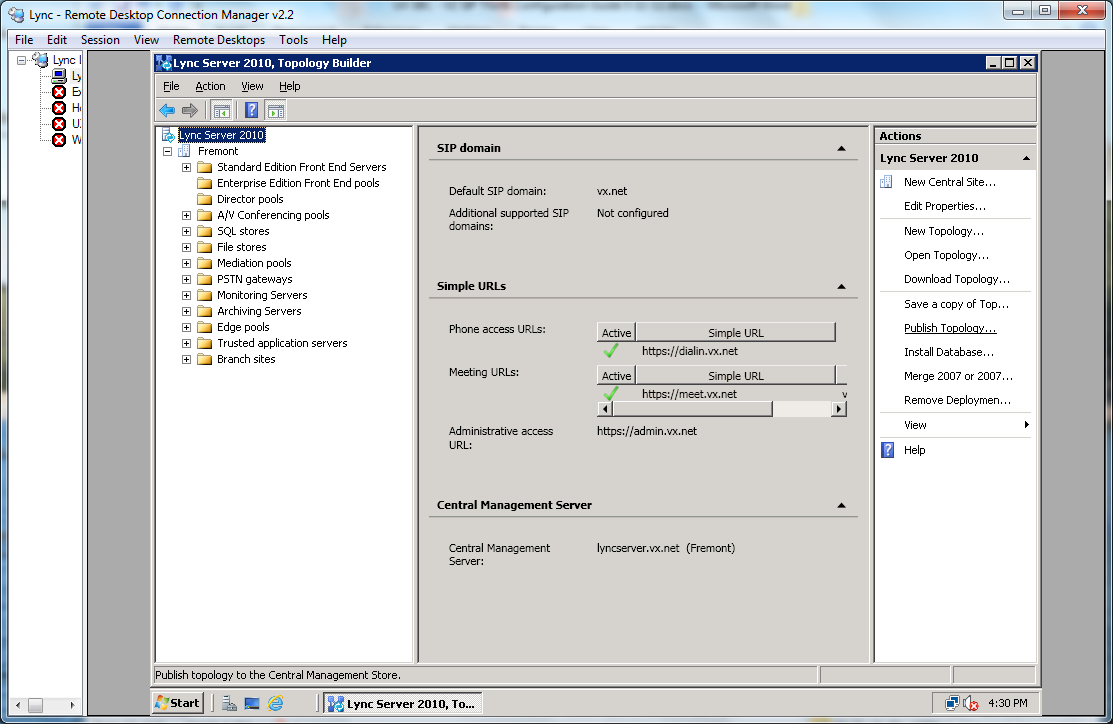 Select the Lync Server 2010 at the top left of the Topology Builder window and click on Publish Topology on the right side.