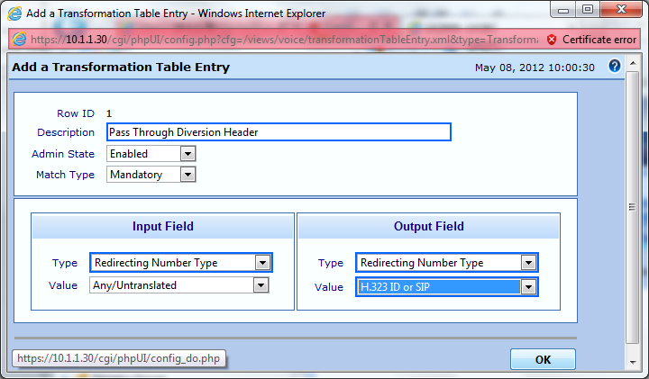 Populate the fields in the translation table entry and click OK. Description: Provide a description for the entry. (Ex.