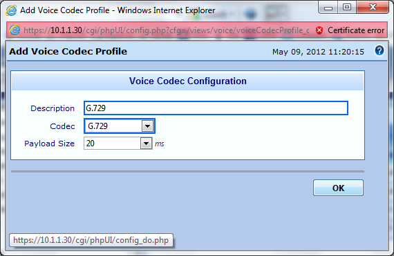Populate the new codec profile fields and click OK. Description: Provide a description for this profile. (Ex. G.
