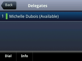Your delegates are automatically added to the Delegates group on your phone and in Lync client. The next figure displays the Delegates group in Lync client.