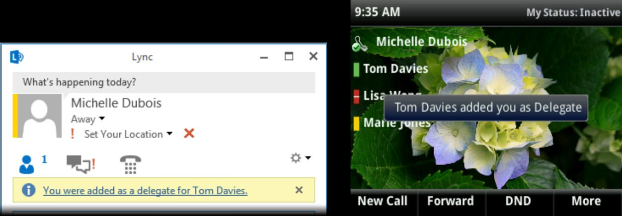 When you are added as a delegate, a notification displays on your phone and in the Lync client.