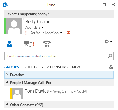 Delegate notification in Lync client and on VVX phones You can view the contacts you are assigned as a delegate for in the group People