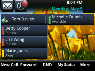 Answered call notification on the boss's phone A boss and delegate can both view the status of any call on the other s phone.