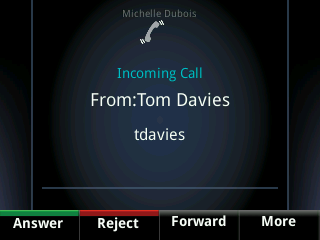 Answer Calls The following figure shows an incoming call from Tom Davies on a Polycom VVX phone. When you answer an incoming call, the call becomes active and displays on the phone s screen.