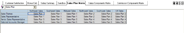 ASSUMPTIONS The Sales Plan Matrix tab provides information about the sales plan each sales representative participates in based upon the position and the