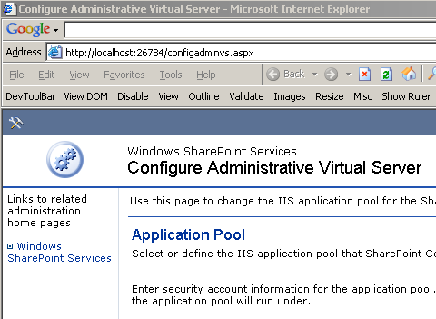 On completion of the setup process, the Configure Administrative Virtual Server web page is automatically opened in Internet Explorer.