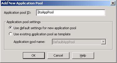 Type StsAppPool as the name of the new application pool, and confirm the