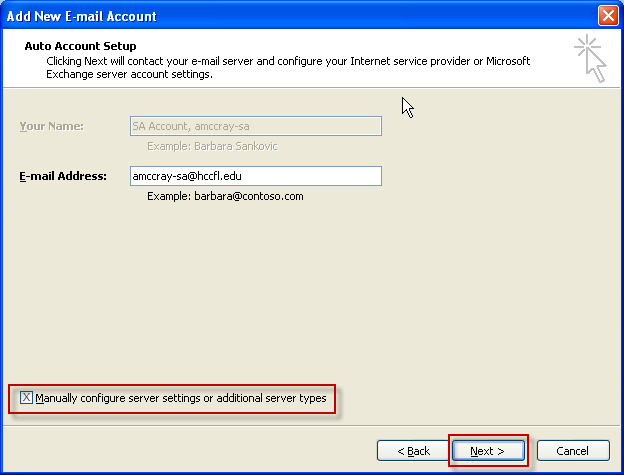 7. Outlook should automatically recognize your account and fill in most of the information.