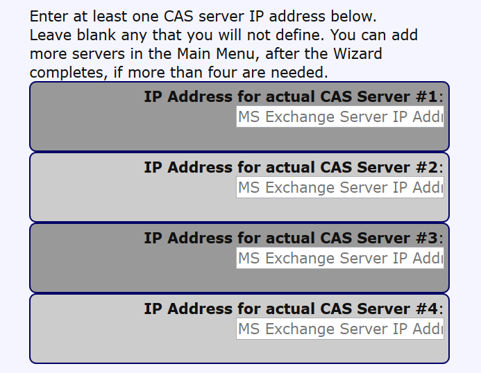 The next part of Section 5 of the wizard is to enter IP addresses of the individual CAS servers in the array. (This documentation focuses on the CAS array.
