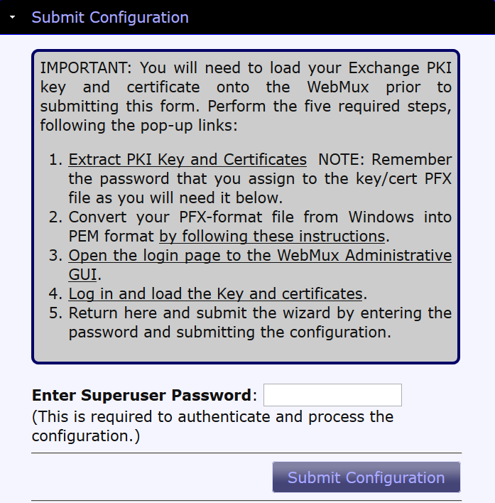 Figure 10 Submit wizard configuration Exchange 2010