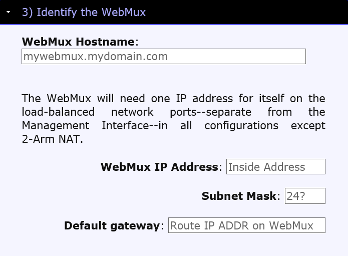 Identify the WebMux You will only need to provide one IP address for the WebMux if you have selected any configuration except NAT.