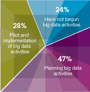 Macro findings Three out of four organizations have big data activities underway; and one in four are either in pilot or production Early days of big data era Almost half of all organizations