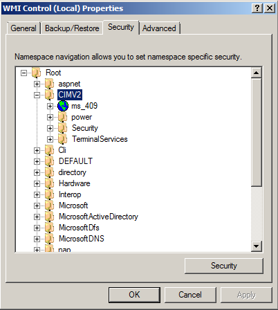 Select the Security tab of the WMI Control Properties.