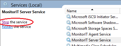 3. The Services window will appear, locate and select MonitorIT Server Service from the list 4.