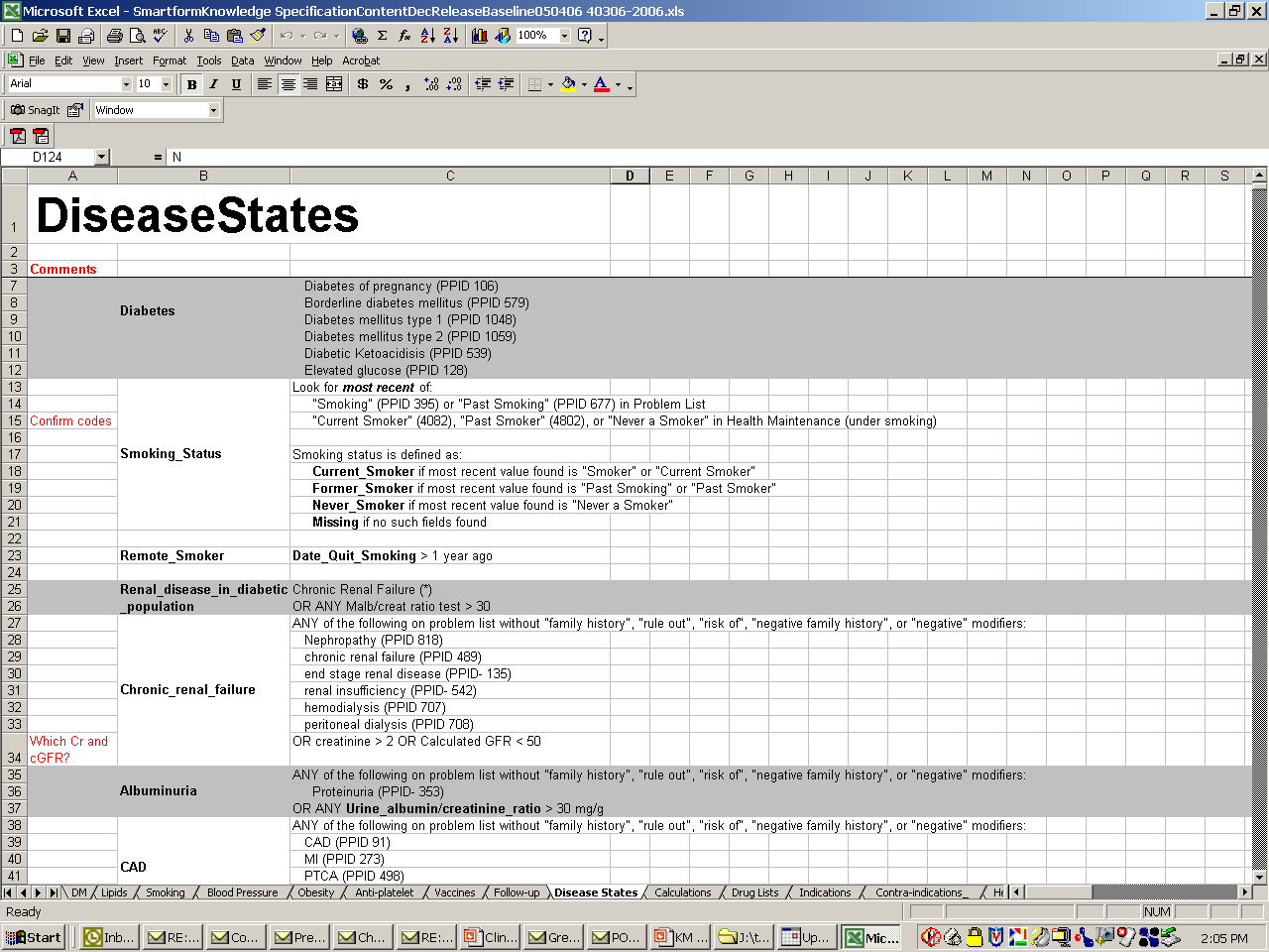Disease State Definitions, Typically Maintained in a Spreadsheet,