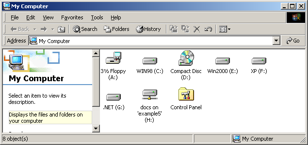 3. Click Finish to map the network drive. A window appears displaying the contents of the newly mapped network drive. An example is shown in the following figure.