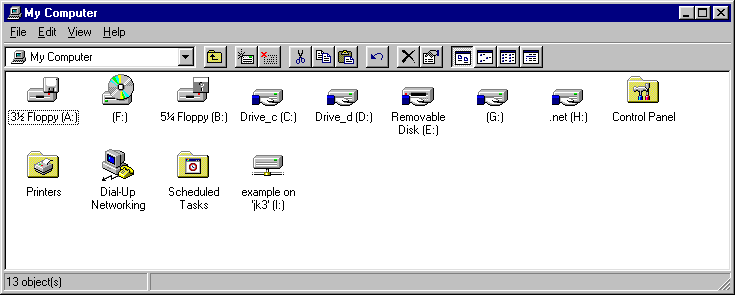 3. Click OK to map the network drive. A window appears displaying the contents of the newly mapped network drive. An example is shown in the following figure.