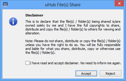 C) Share How to share 1. Select a file/folder and right-click on it. 2. Select uhub Share > Share. 3.