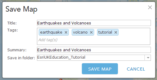 Save the map by clicking the Save button on the top menu.
