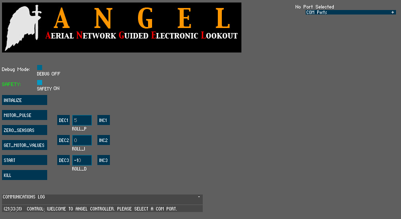 tune it s parameters would make testing and debugging easier. A screenshot of ANGEL Controller v1 is shown in Figure 38.