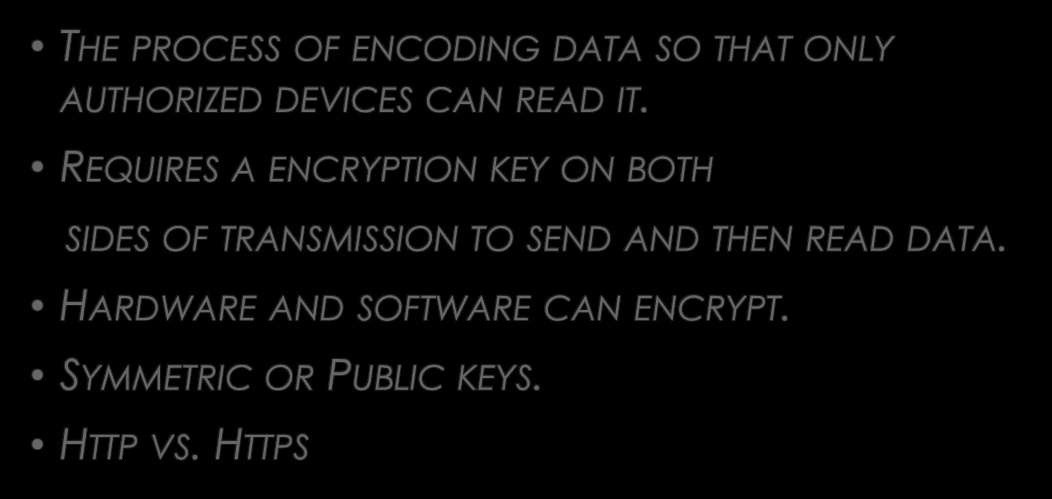WHAT IS ENCRYPTION? THE PROCESS OF ENCODING DATA SO THAT ONLY AUTHORIZED DEVICES CAN READ IT.
