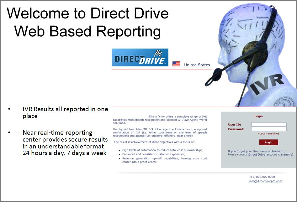 Real-Time Results Reporting IVR results all reported in one place Near real-time