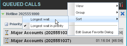 10.6 Order Queued Calls Queued calls can be ordered according to their total waiting time or their waiting time in the current priority bucket.