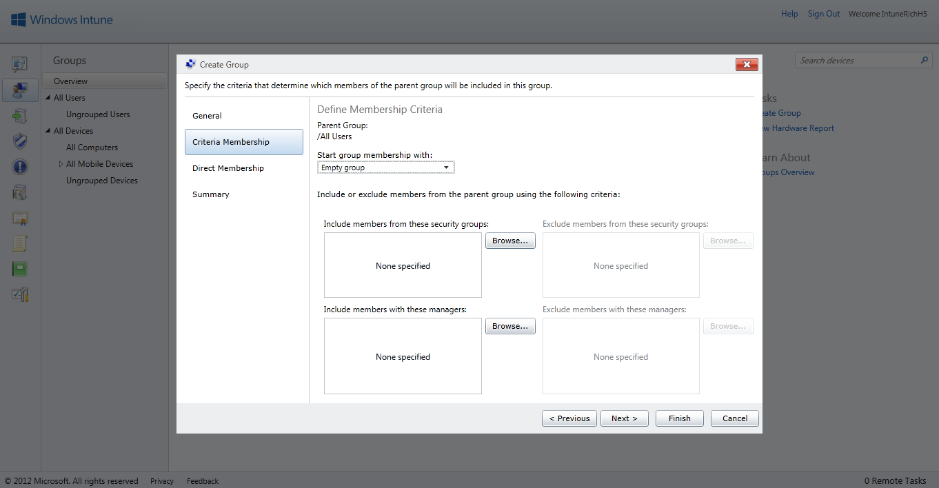 FIGURE 7 NEW GROUP CREATION WIZARD In the Criteria Membership screen in Figure 7, if the Start group membership with field has the value Empty group, then you can browse for members of security