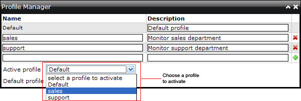 Choose one of the options in the Active profile dropdown