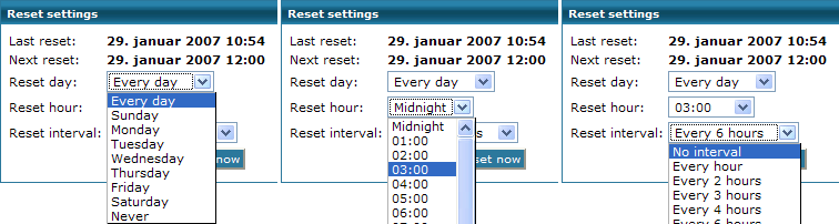 Reset interval This displays the times the network traffic statistics are reset. By default the probe is reset every day starting from midnight and every sixth hour.