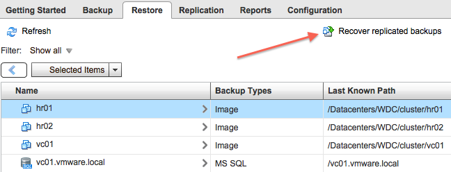 Restore Restore an entire virtual machine by using the Restore tab in the vsphere Data Protection UI.