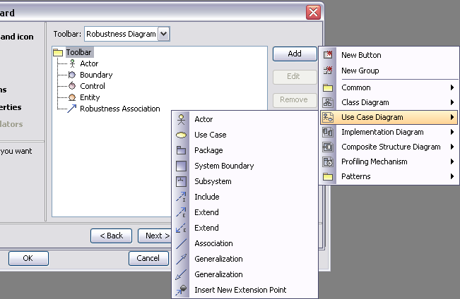 Custom Diagram Wizard Custom toolbar buttons In the Specify toolbar buttons tab, select standard or stereotyped elements for your own diagram toolbars.