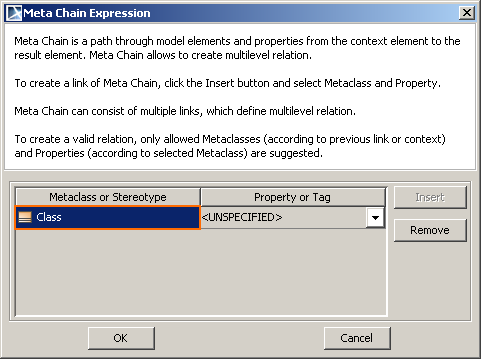 Figure 33 -- Meta Chain Expression dialog for defining links of a meta chain expression Column Metaclass or Stereotype Property or Tag Description A metaclass or a stereotype of a link, contained in
