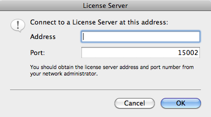 CONNECTING TO THE IMAGING LICENSE SERVER 2. Enter the IP Address of the server and the Port number, if it is not 15002.