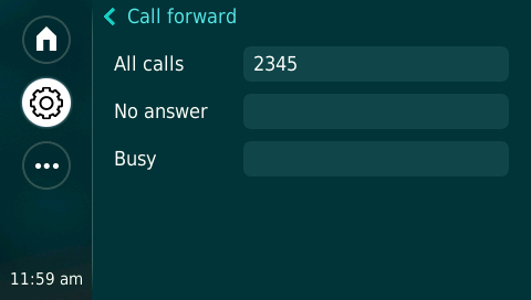 Using Your Dolby Conference Phone as an IP Conference Phone To forward calls to another number: 1. From the home screen, tap, then tap Forward. Figure 4-10 Call Forward Screen 2.