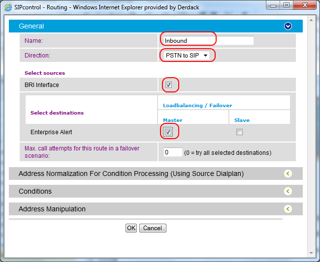 f. select PSTN to SIP from the Direction dropdown g. select the PSTN interface that you have enabled in section 3.4.2 as source h.