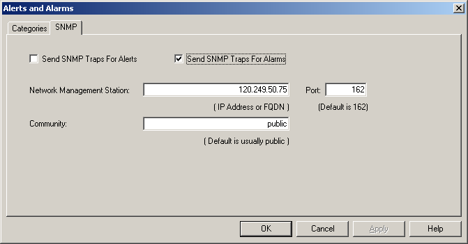 SNMP Alerts and alarms may optionally send SNMP traps to an SNMP Network Management Station.