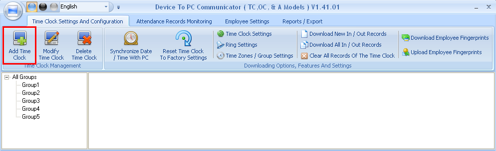 IV. Once the Device to PC communicator is opened click on Add Time Clock.