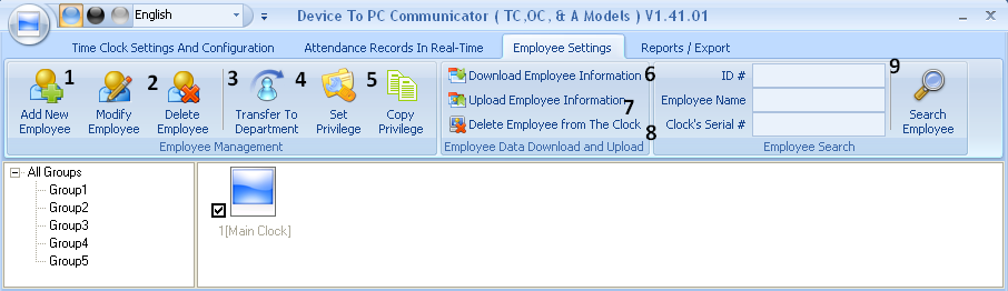 connection and also the communication software has to be opened at all times). 2) Disable Real-Time: This button allows you to disable to the realtime feature. C. TAB #3: Employee Settings.