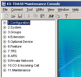 3.3 Installation of the Hybrid IP-PBX PC Programming Software 7. The program menu appears. You may now begin programming the Hybrid IP-PBX.